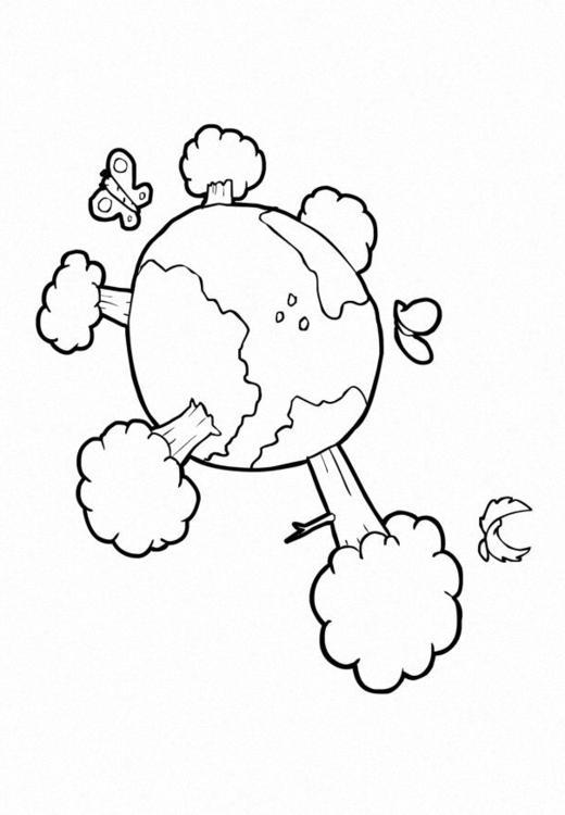 Dibujo para colorear Naturaleza - clima - la tierra - Img 14734