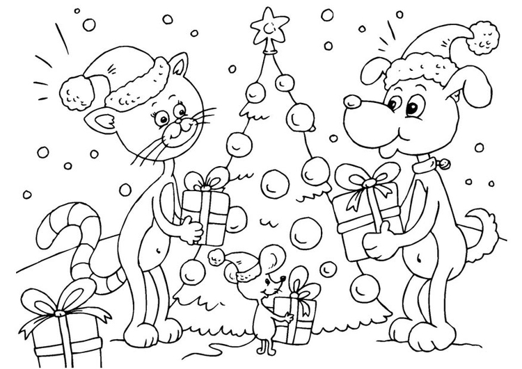 Dibujo para colorear Navidad para animales - Img 23373
