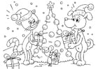 Dibujo para colorear Navidad para animales