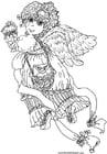 Dibujo para colorear Ángel de San Valentín