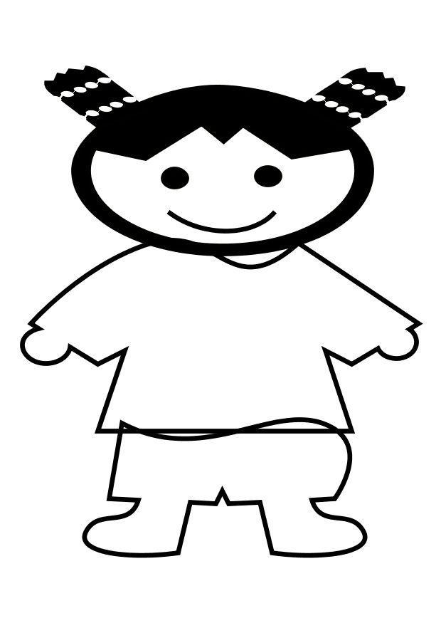 Dibujo para colorear Niña china - Img 10267