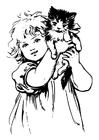 Dibujo para colorear niña con gato