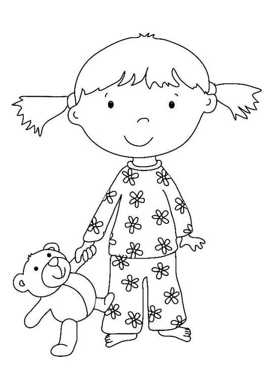 Dibujo para colorear Niña con peluche - Img 7324
