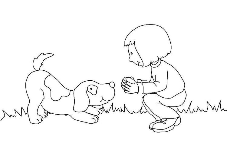 Imagenes Para Colorear De Niña: Dibujo Para Colorear Niña Con Perro