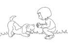 Dibujo para colorear Niña con perro
