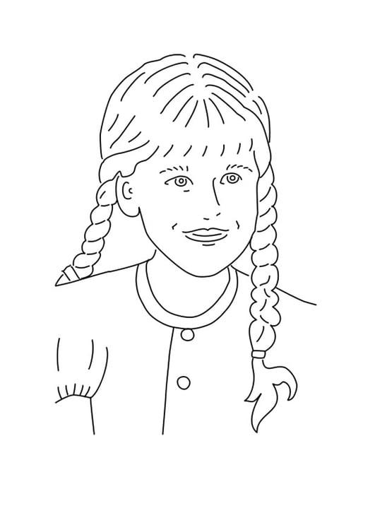 Dibujo para colorear niña con trenzas - Img 25575