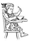 Dibujo para colorear niña en silla alta