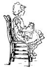 Dibujo para colorear Niña en silla