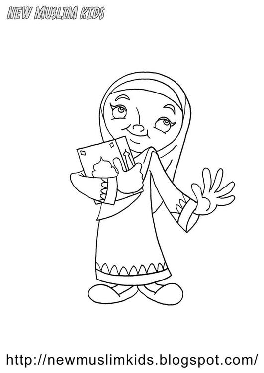 Dibujo para colorear niña musulmana - Img 22013