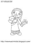 Dibujo para colorear niña musulmana