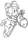 Dibujo para colorear Niño con caballito de palo
