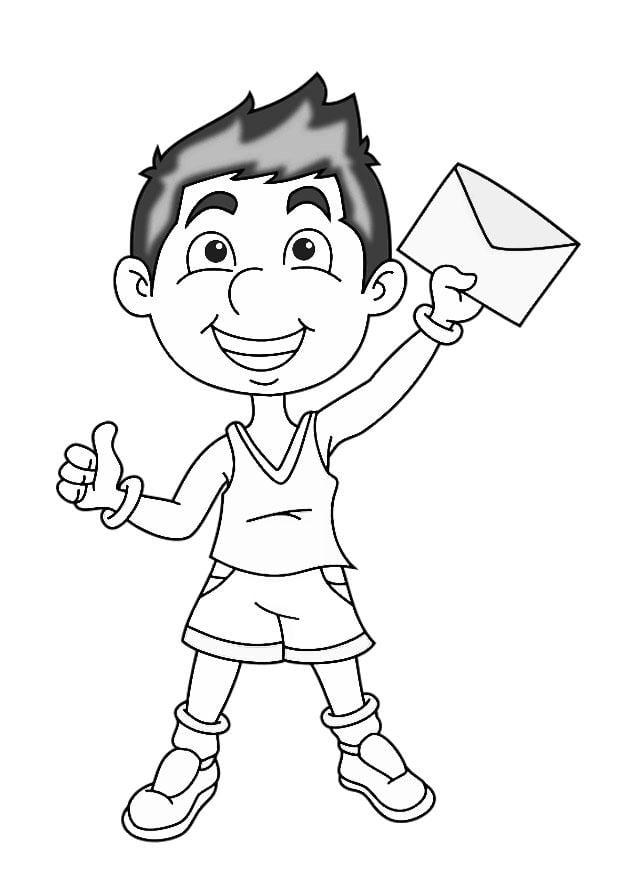 Dibujo para colorear niño con carta - Img 27466