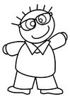 Dibujo para colorear niño con gafas