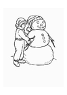 Dibujo para colorear Niño con muñeco de nieve