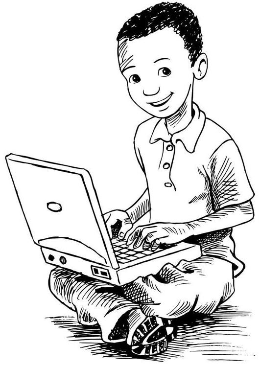 Dibujo para colorear ni o con ordenador port til img 7383 - Programas para pintar en el ordenador ...