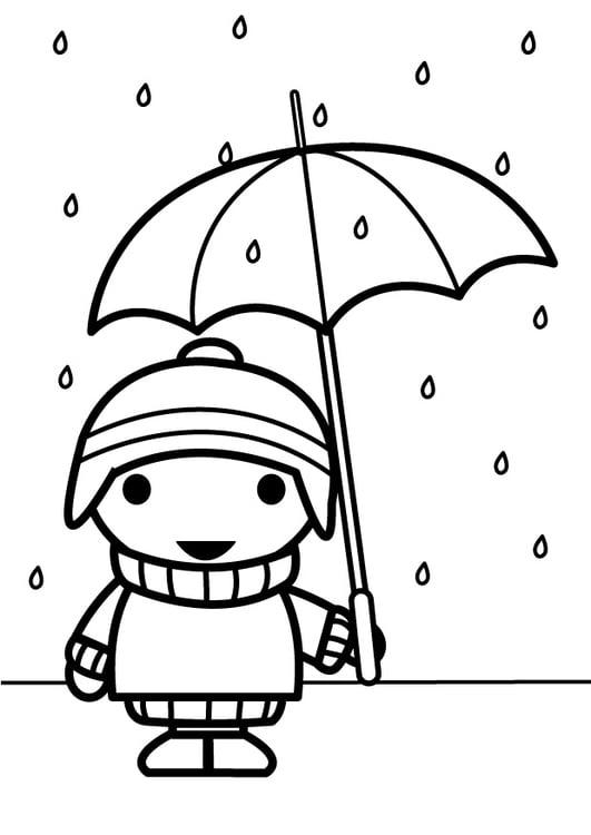 Dibujo para colorear niño con paraguas - Img 26885
