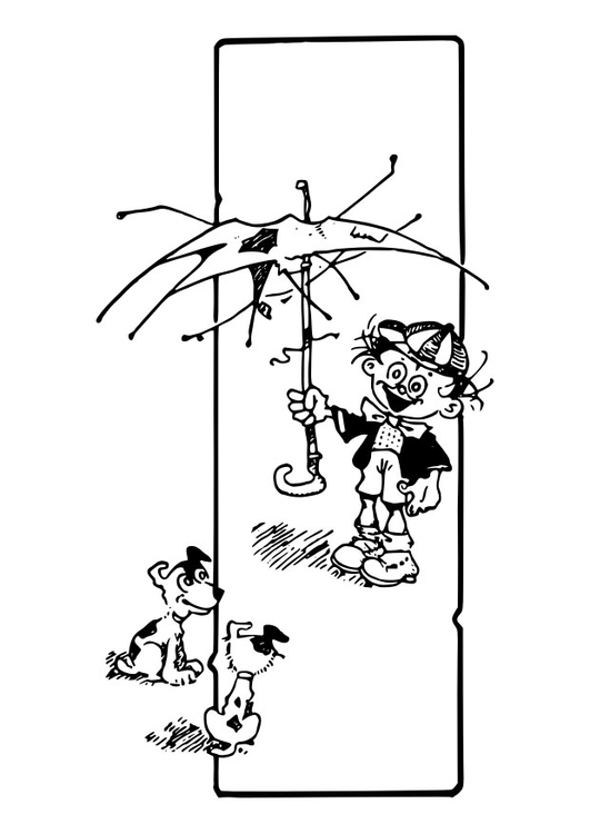 Dibujo Para Colorear Niño Con Perros Pequeños Img 30126