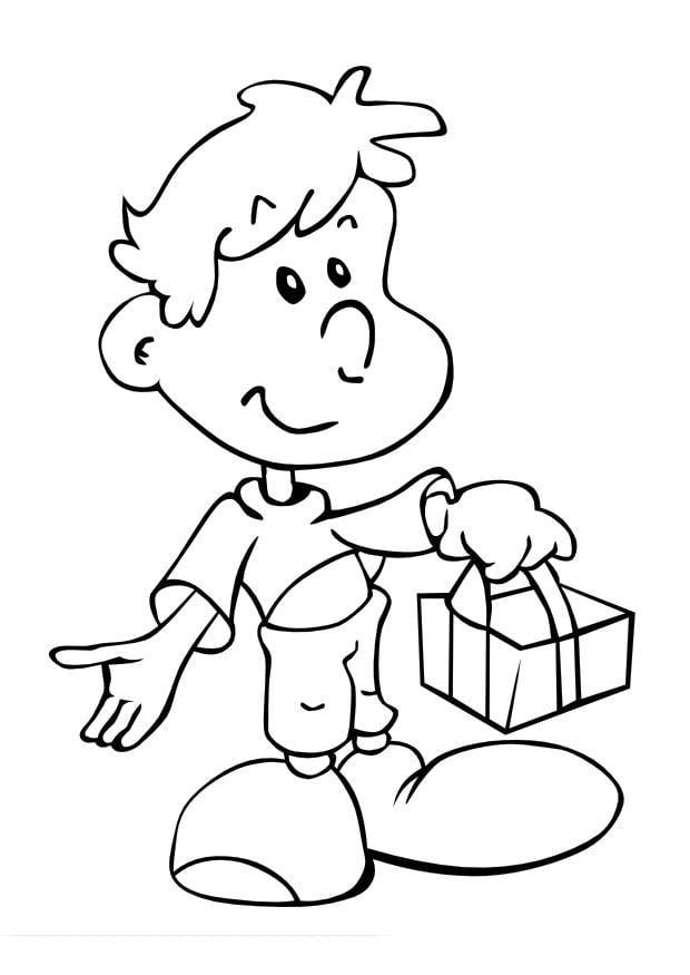 Dibujo para colorear Niño con regalo - Img 10016