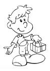 Dibujo para colorear Niño con regalo