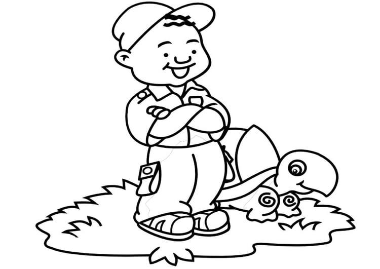 Dibujo Para Colorear Niño Con Tortuga Dibujos Para