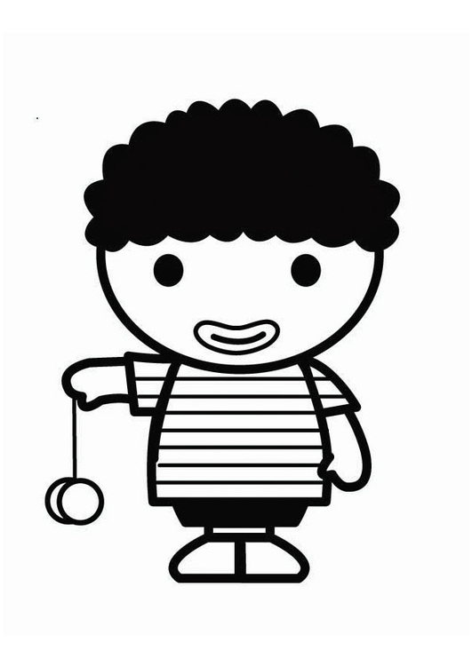 Dibujo para colorear niño con yoyó - Dibujos Para Imprimir ...