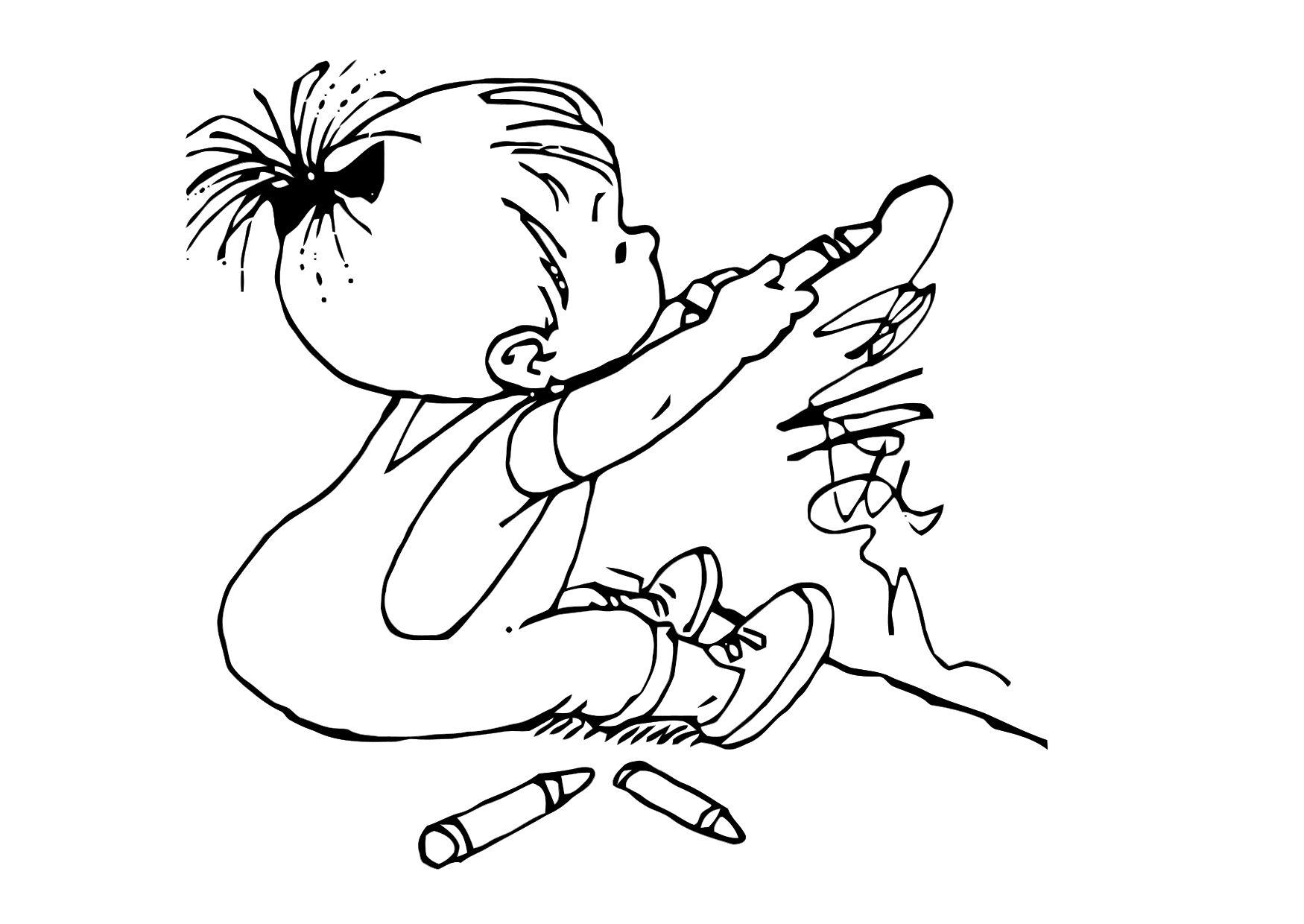 Niño Dibujo Para Colorear: Dibujo Para Colorear Niño Dibujando