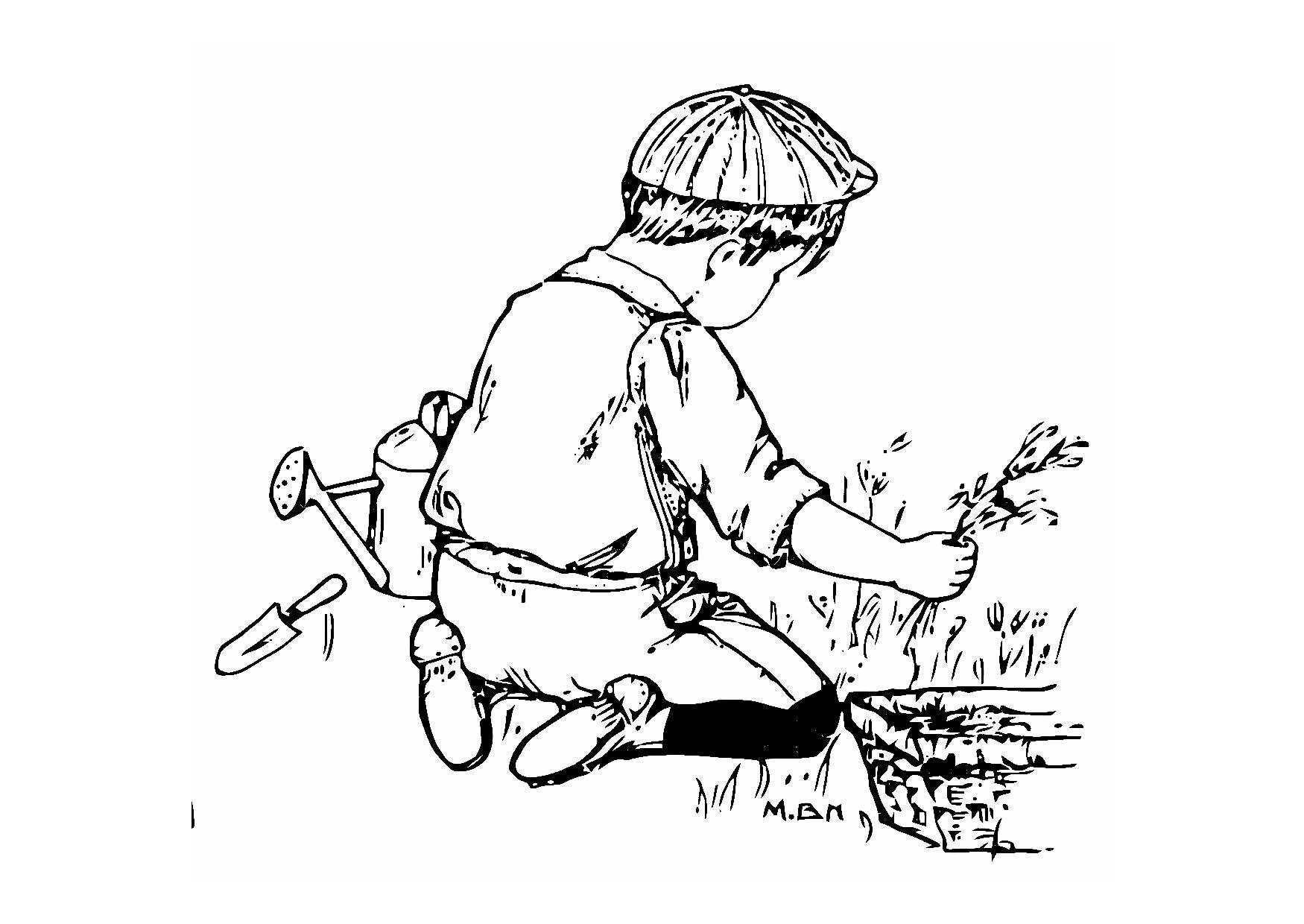 Dibujo para colorear ni o en el jard n img 11435 for Jardin dibujo