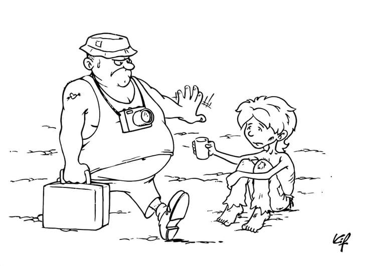 Caricaturas De Niños Para Colorear: Dibujo Para Colorear Niño Mendigo
