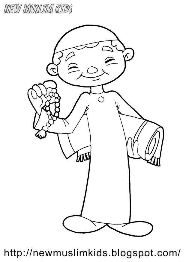 Dibujo para colorear niño musulmán - Img 22009