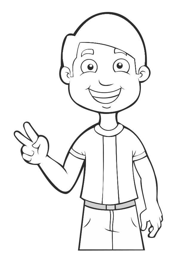 Dibujo para colorear niño - paz - Img 27468