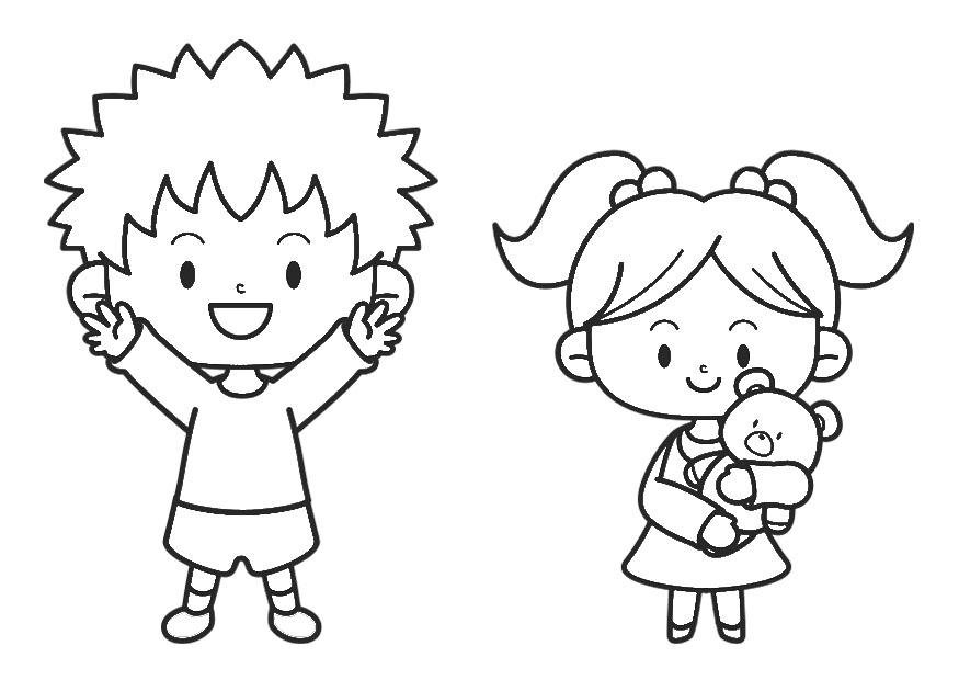 Imagenes De Niños Pintando Para Colorear: Dibujo Para Colorear Niño Y Niña
