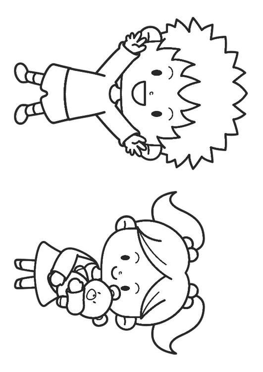 Dibujo para colorear niño y niña - Img 30214
