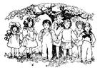 Dibujo para colorear niños debajo del árbol