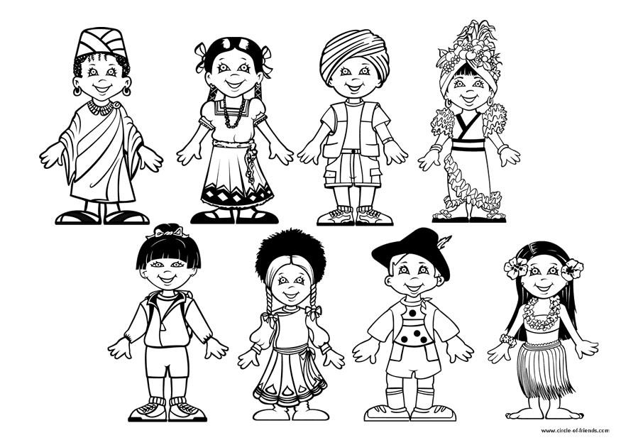 Dibujos De Las Culturas Del Mundo Para Colorear: Dibujo Para Colorear Niños Del Mundo