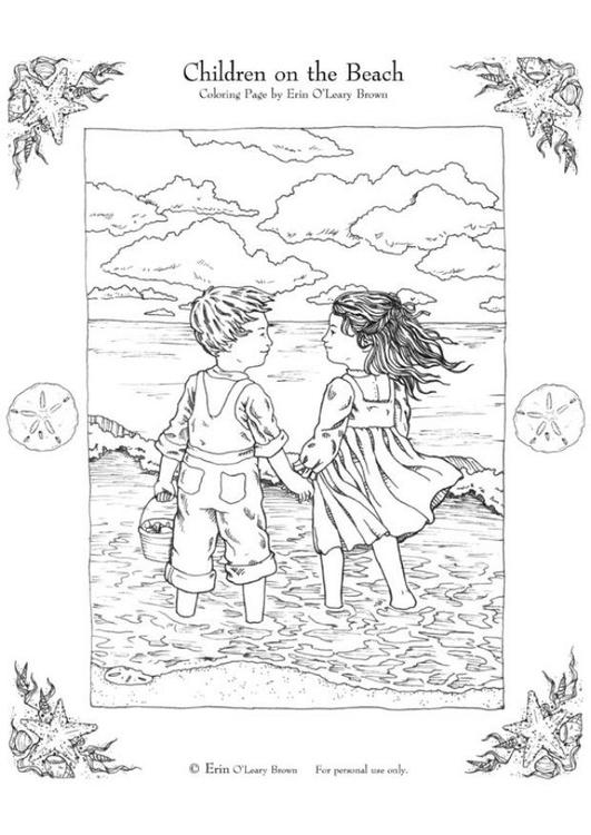 Dibujo para colorear Niños en la playa - Img 6000