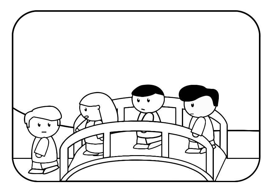 Dibujo para colorear niños en puente - Img 28552