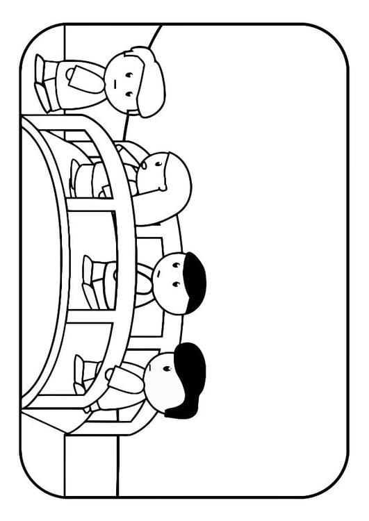 Dibujo para colorear niños en puente - Img 28558
