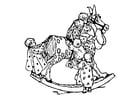 Dibujo para colorear Niños en un caballo mecedor