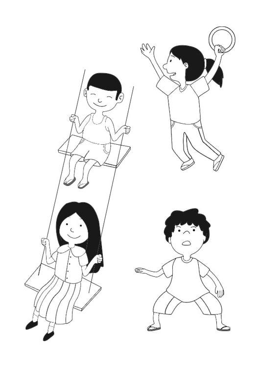 Dibujo para colorear niños jugando - Img 29659