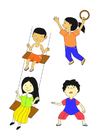 Dibujo para colorear niños jugando