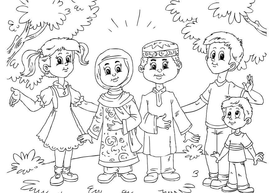 Dibujo para colorear niños musulmanes con niños occidentales - Img 26231