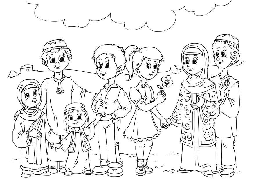 Culturas Del Mundo Para Colorear: Dibujo Para Colorear Niños Occidentales En La Cultura
