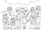 Dibujo para colorear niños occidentales en la cultura musulmana
