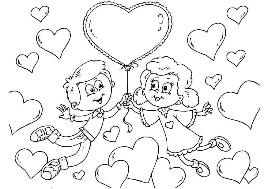 Dibujo para colorear niños - San Valentín - Img 24621