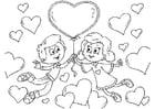 Dibujo para colorear niños San Valentín