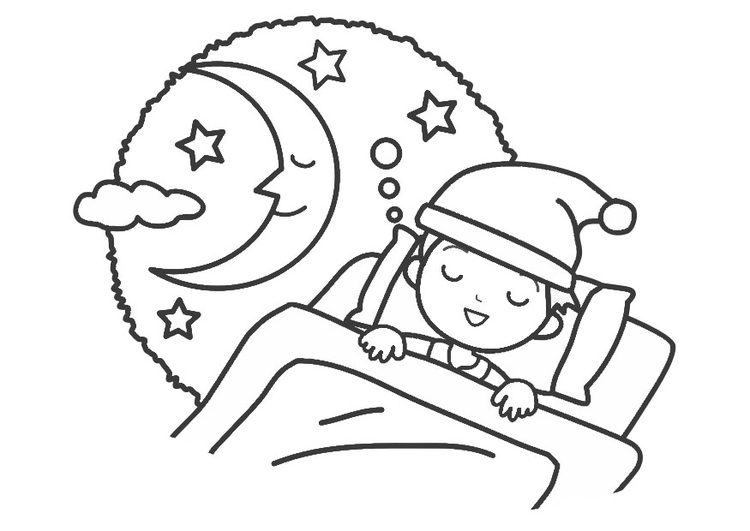 Dibujo Para Colorear Noche Dormir Dibujos Para Imprimir