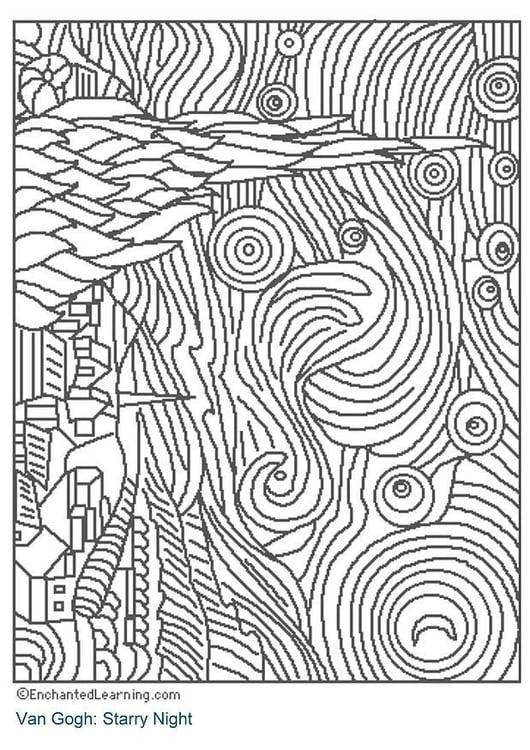 Dibujo para colorear Noche estrellada   Img 3204