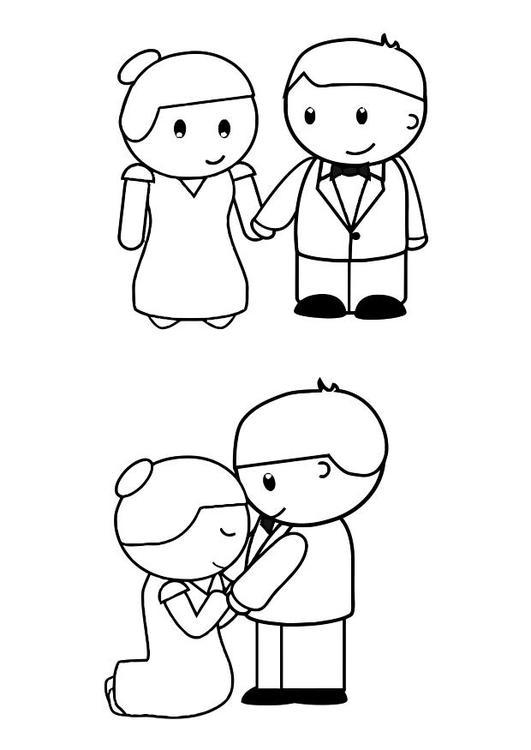 dibujo para colorear novia y novio img 28546