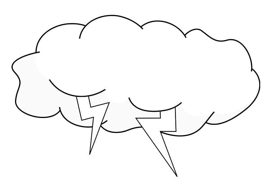 Dibujo para colorear nube de tormenta - Img 19225