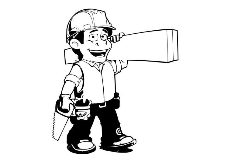 Dibujo para colorear obrero de la construcción - Img 29058